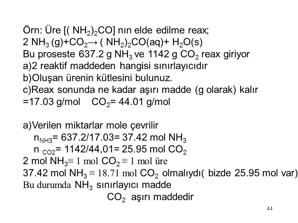 Örn: Üre [( NH2)2CO] nın elde edilme reax;